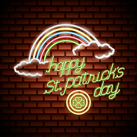 Illustration for rainbow coin clover st patricks day neon vector illustration - Royalty Free Image