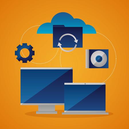 Illustration pour cloud computing gear connection disk protection vector illustration - image libre de droit