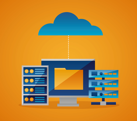 Illustration pour cloud computing connection folder data base vector illustration - image libre de droit