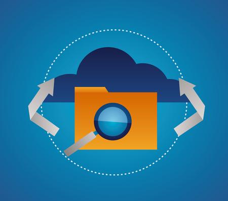 Illustration pour cloud folder magnifying glass connection vector illustration - image libre de droit