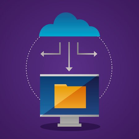 Illustration pour cloud computing screen folder connection vector illustration - image libre de droit