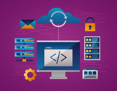 Illustration pour cloud computing data base padlock document vector illustration - image libre de droit