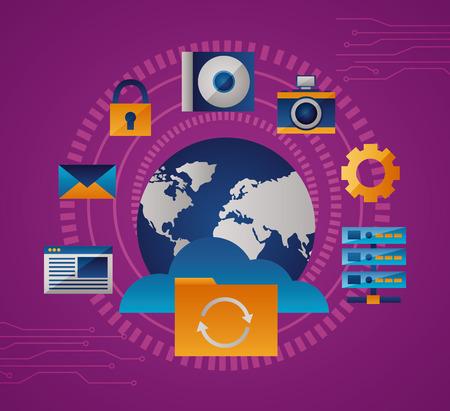 Illustration pour world tools cloud protection folder vector illustration - image libre de droit