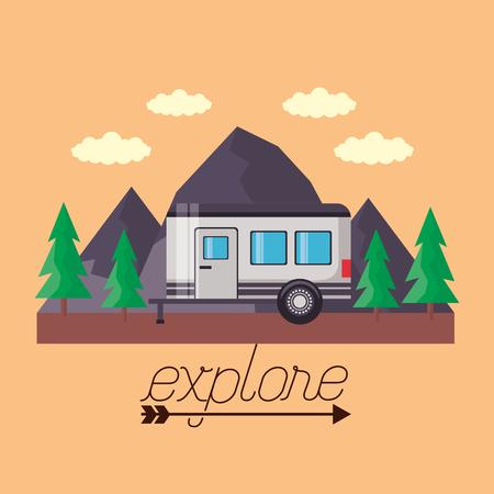 Ilustración de wanderlust trailer pine trees mountains landscape vector illustration - Imagen libre de derechos