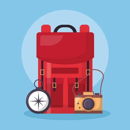 Ilustración de wanderlust red bag compass and camera vector illustration - Imagen libre de derechos