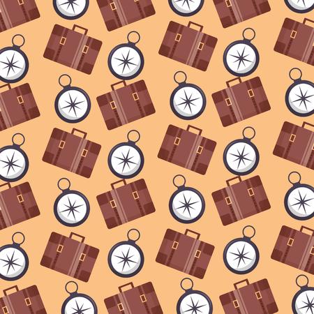 Ilustración de travel briefcases guide compass background vector illustration - Imagen libre de derechos