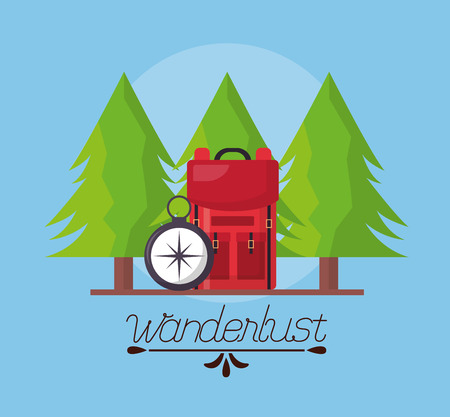 Ilustración de wanderlust pine trees bag and compass vector illustration - Imagen libre de derechos