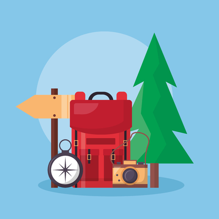 Ilustración de pine tree bad compass camera guide stick wanderlust vector illustration - Imagen libre de derechos