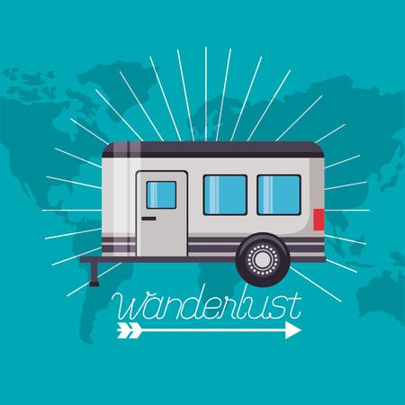 Ilustración de trailer travel wanderlust map background vector illustration - Imagen libre de derechos
