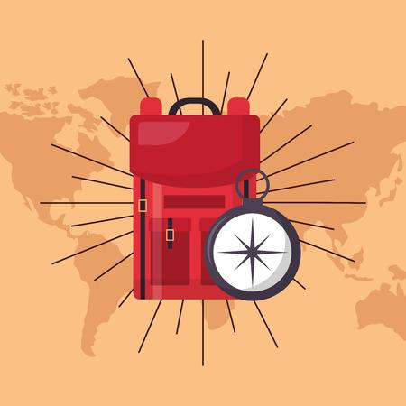 Illustrazione per red bad compass guide wanderlust vector illustration - Immagini Royalty Free