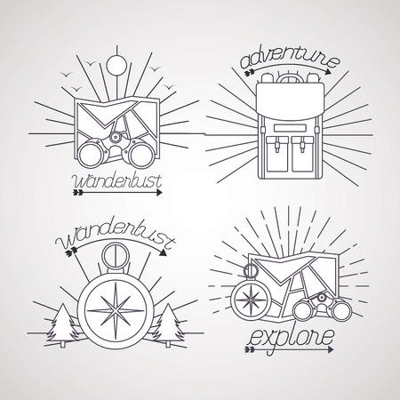 Illustration pour wanderlust stickers compass pine trees binoculars map vector illustration - image libre de droit