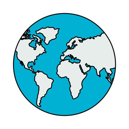 Illustration for world globe map on white background vector illustration - Royalty Free Image