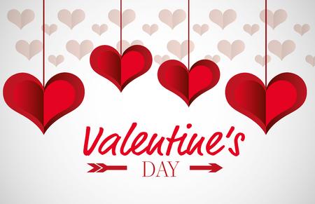 Illustration pour hanging paper hearts happy valentines day vector illustration - image libre de droit