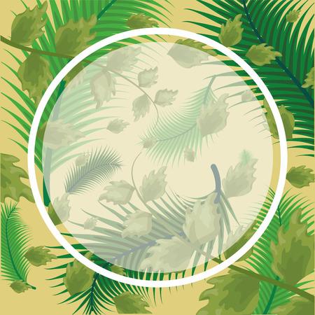 Illustration for foliage sticker nature leaves background vector illustration - Royalty Free Image
