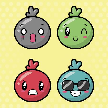 Ilustración de emotions cute   faces background vector illustration - Imagen libre de derechos