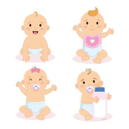 Ilustración de group of babies characters vector illustration design - Imagen libre de derechos