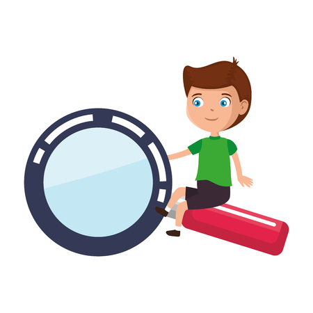 Illustration for little boy student with magnifying glass vector illustration design - Royalty Free Image
