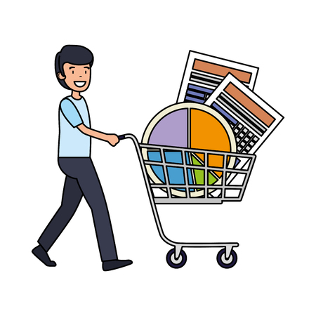 Illustration pour businessman with shopping cart and statistics graphics vector illustration - image libre de droit