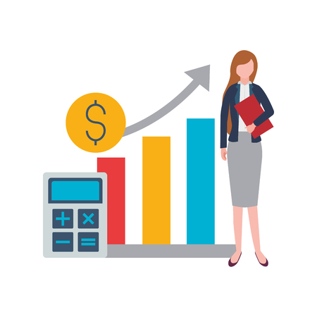 Illustration for businesswoman calculator report coin stock market vector illustration - Royalty Free Image