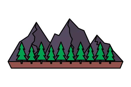 Illustration for mountains tree pine nature landscape vector illustration - Royalty Free Image