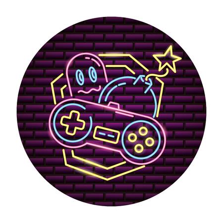Ilustración de ghost control boom video game neon vector illustration - Imagen libre de derechos