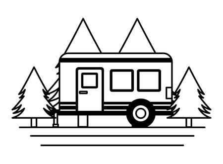 Illustration pour camper trailer trees pine scene vector illustration - image libre de droit
