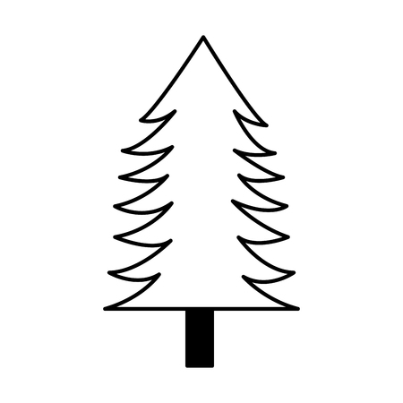 Illustration for tree pine forest on white background vector illustration - Royalty Free Image