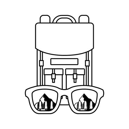 Ilustración de backpack eyeglasses landscape camping wanderlust vector illustration - Imagen libre de derechos