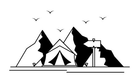 Illustration for mountains tent camping wanderlust scene vector illustration - Royalty Free Image