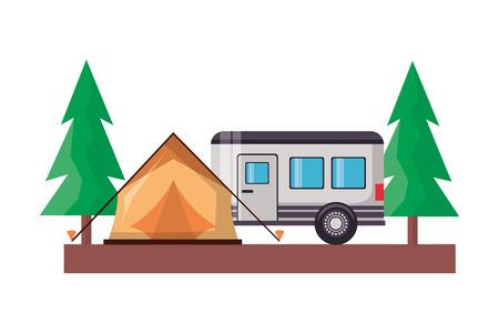 Illustration pour tent camper trailer trees camping wanderlust vector illustration - image libre de droit