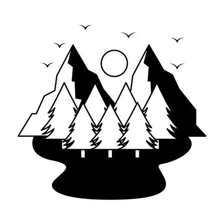 Illustration for mountains trees camping wanderlust scene vector illustration - Royalty Free Image