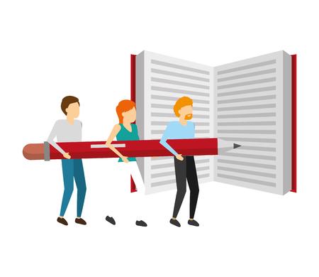 Illustration pour people business holding pencil with book vector illustration - image libre de droit