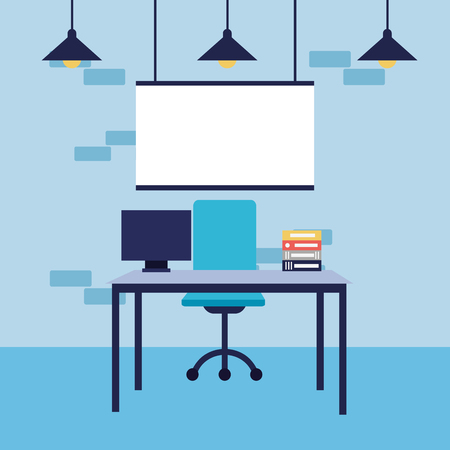 Illustrazione per office workplace desk chair laptop board vector illustration - Immagini Royalty Free