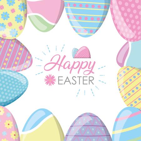 Ilustración de happy easter decoration painting eggs vector illustration - Imagen libre de derechos