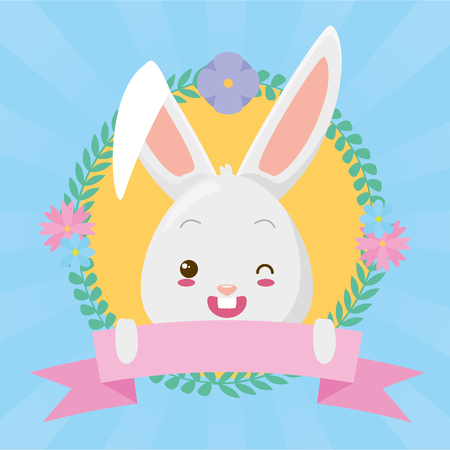 Illustration for cute rabbit face ribbon cartoon  vector illustration - Royalty Free Image
