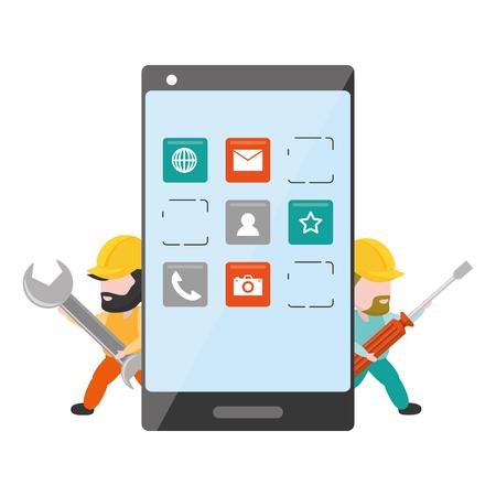 Ilustración de workers with wrench and tool mobile app development vector illustration - Imagen libre de derechos