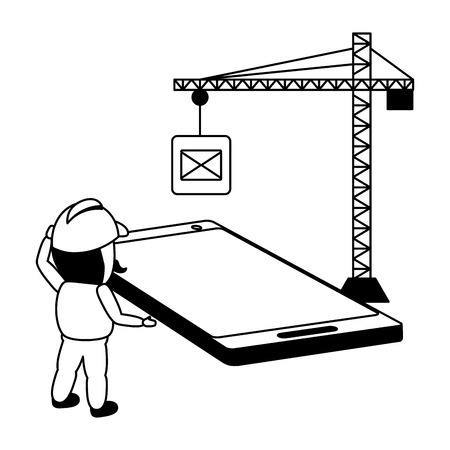 Illustrazione per worker install with crane mobile app development vector illustration - Immagini Royalty Free