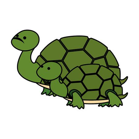 Illustration pour cute family turtles wild characters vector illustration design - image libre de droit