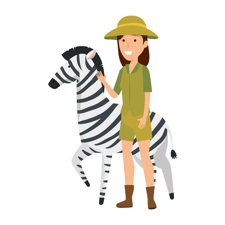 Illustration for woman worker of zoo with zebra vector illustration design - Royalty Free Image