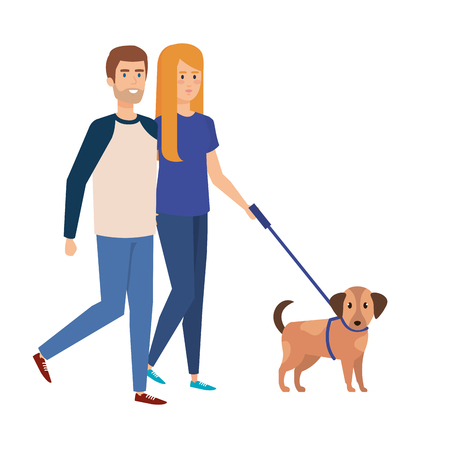 Illustration pour lovers couple walking with dog vector illustration design - image libre de droit