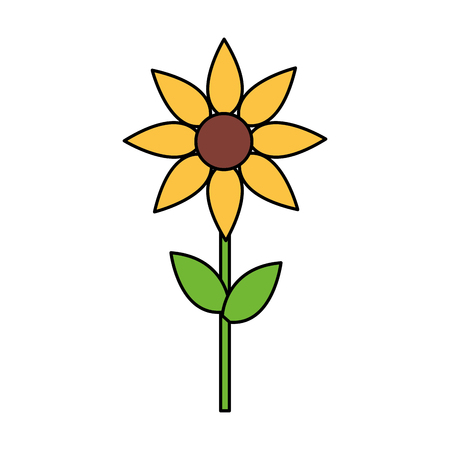 Illustration for yellow flower decoration on white background vector illustration - Royalty Free Image