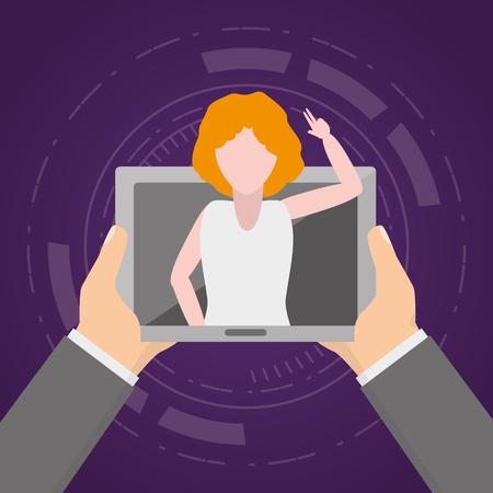 Illustration pour hands with tablet woman video chat tech device vector illustration - image libre de droit