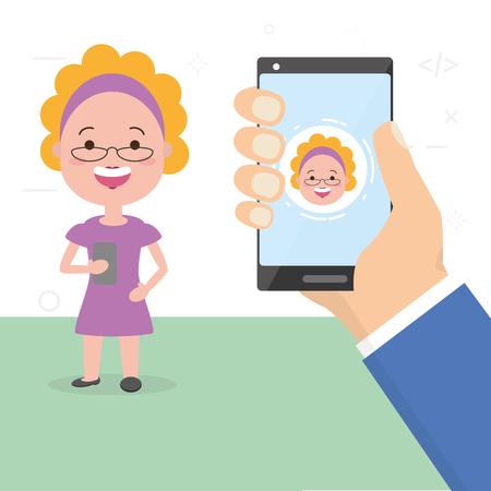 Ilustración de people video chat smartphone tech device vector illustration - Imagen libre de derechos