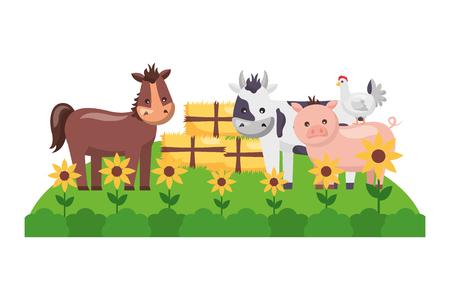 Illustration for horse cow pig hen bales of hay garden farm vector illustration - Royalty Free Image