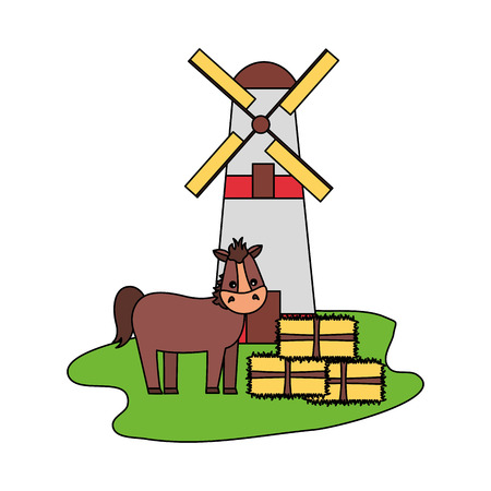 Illustration for horse windmill and bales of hay farm vector illustration - Royalty Free Image