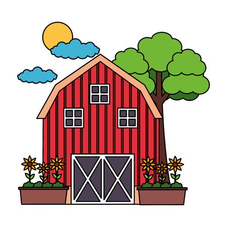 Illustration for barn potted  flowers tree farm vector illustration vector illustration - Royalty Free Image