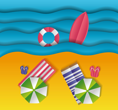 Illustration for top view beach towels umbrella sea paper origami landscape vector illustration - Royalty Free Image