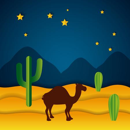Illustration for camel desert night stars paper origami landscape vector illustration - Royalty Free Image