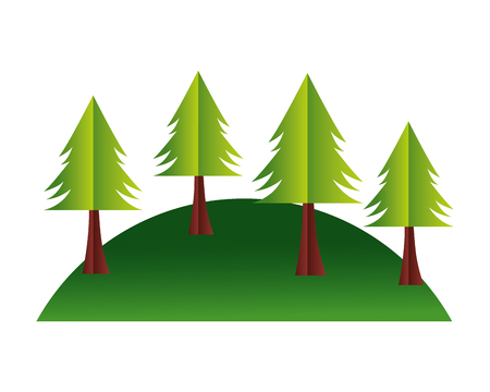 Illustration pour trees hill paper origami landscape vector illustration - image libre de droit