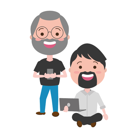 Illustration pour two men with laptop cellphone tech vector illustration - image libre de droit